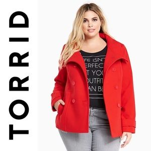 NWT TORRID DOUBLE BREASTED PEACOAT COAT RED 1 1X